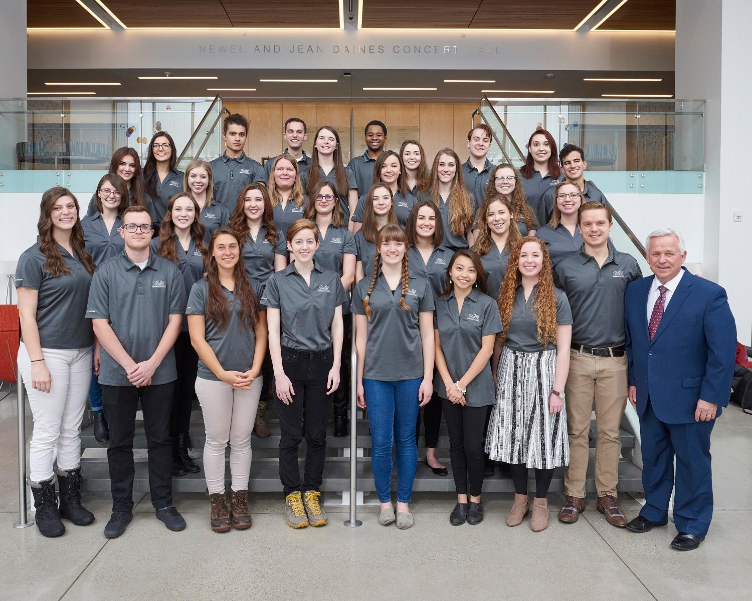 Caine Scholars for Excellence 2018-19 with Dean Craig Jessop